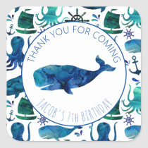Thank You Birthday Party Marine Whale Nautical Square Sticker