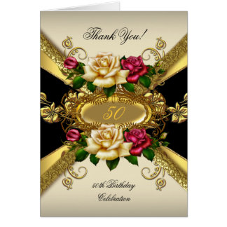 Thank You Birthday Party Roses Red Cream Gold 2 Stationery Note Card