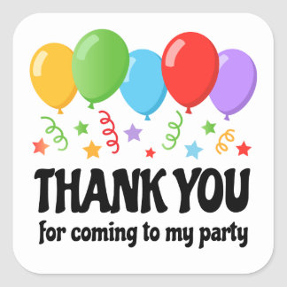 Thank you birthday party sticker with balloons