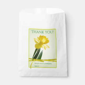 """""""Thank you"""" Birthday Party Yellow Daffodil Picture Favor Bag"""