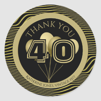 Thank You: Black and Gold Any Birthday Party Classic Round Sticker