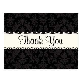Thank You Black and Gray Damask Floral  Post Card