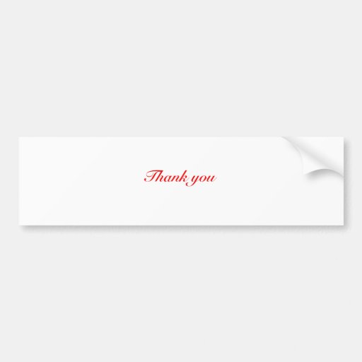 thank you black and red bumper sticker