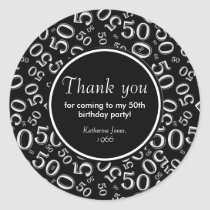 Thank You: Black and White 50th Birthday Party Classic Round Sticker
