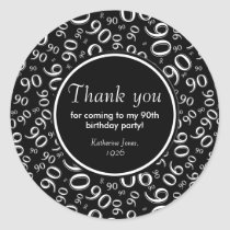 Thank You: Black and White 90th Birthday Party Classic Round Sticker