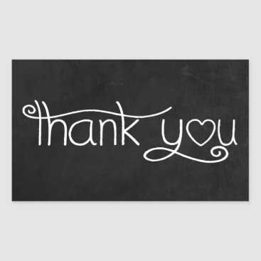 Professional Business Thank You Black And White Chalkboard Heart Rectangular Sticker