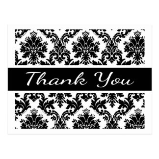 Thank You Black And White Damask Floral  Postcard