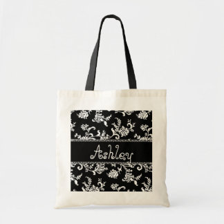 Thank You Black and White Floral Damask Wedding Tote Bag
