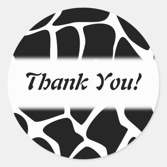 Thank You. Black and White Giraffe Pattern. Classic Round Sticker