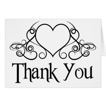 Professional Business Thank You Black And White Love Heart Note Card