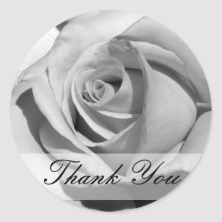Thank You Black and White Rose Sticker