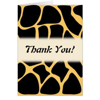 Thank You. Black and Yellow Giraffe Print Pattern. Greeting Card