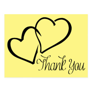Thank You Black And Yellow Hearts Post Card