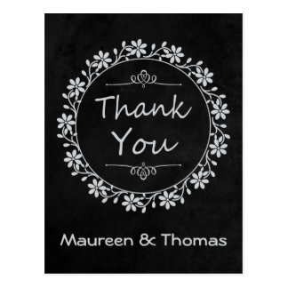 Thank You Black Chalkboard Floral Wreath Post Card