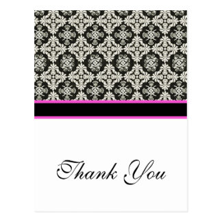 thank you black damask postcard
