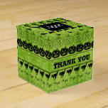Thank You  Black/Green Halloween Font Art Pattern Favor Box