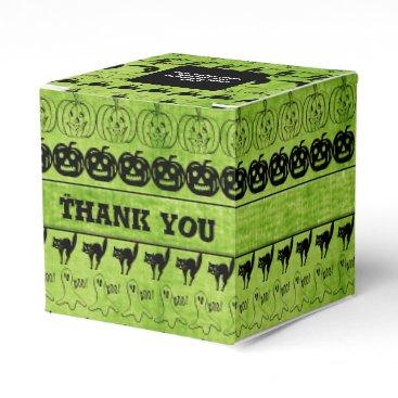 Halloween Themed Thank You  Black/Green Halloween Font Art Pattern Favor Box