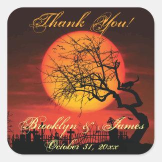 Thank You Black Halloween Wedding Stickers