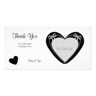 Thank You - Black Heart on White Photo Card