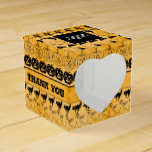 Thank You  Black/Orange Halloween Font Art Pattern Favor Box