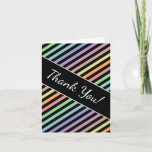 """[ Thumbnail: """"Thank You!"""" + Black & Pastel Color Lines Pattern Card ]"""