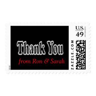 Thank You Black Postage Stamp -personalize