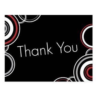Thank You - Black & Red Circles Postcard