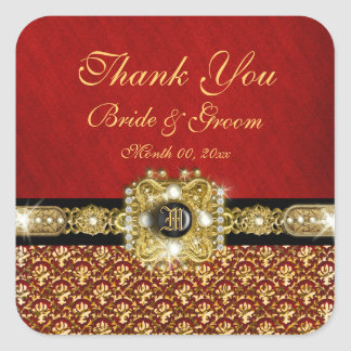 """""""Thank you"""" black red gold damask Square Sticker"""