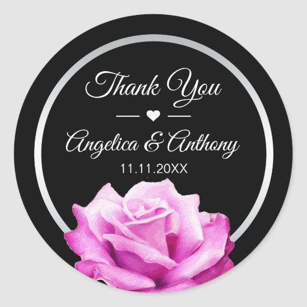 Thank You Black Silver Pink Rose Wedding Seals