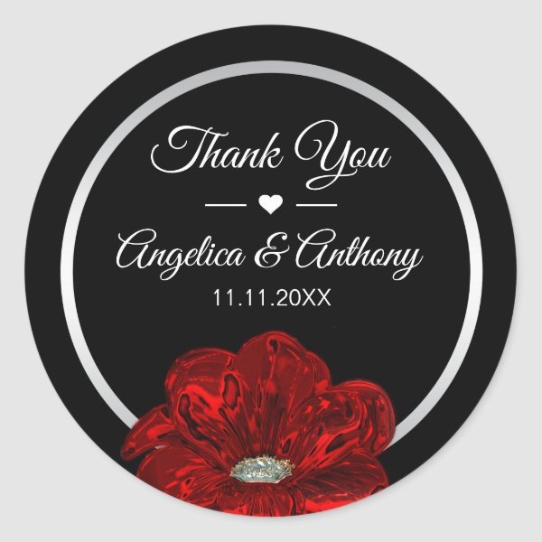 Thank You Black Silver RED Rose Wedding Seals