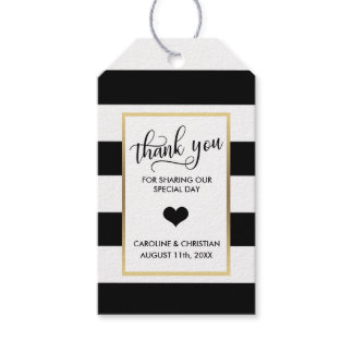 THANK YOU Black Stripes White Gold  Heart Wedding Gift Tags