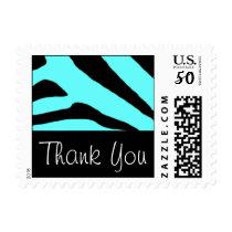 Thank You Black & Turquoise Zebra Custom Postage