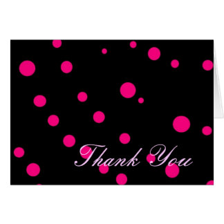 """Thank You"" (black w/ hot pink dots) Greeting Card"