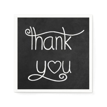 Professional Business Thank You Black & White Chalkboard Party Napkins