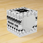 Thank You  Black/White Halloween Font Art Pattern Favor Box