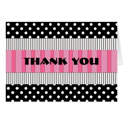 Thank You Black & White Polka Dot  Pink Stripes Cards