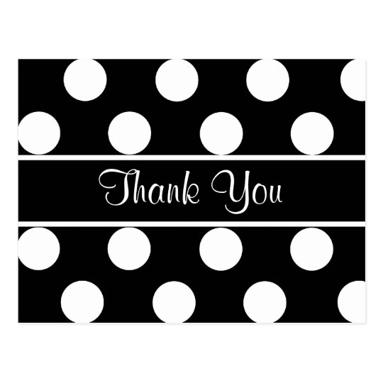 Thank You Black & White Polka Dot Postcard