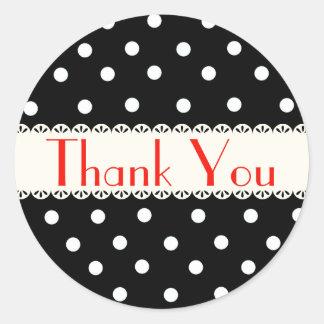 Thank You Black & White Polka Dot Sticker / Label