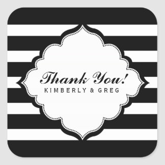 Thank You Black & White Stripes Pattern Square Sticker
