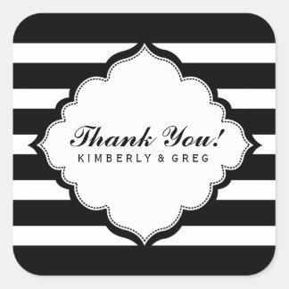 Thank You Black & White Stripes Pattern Square Sticker