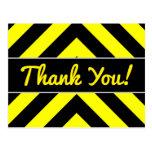 """[ Thumbnail: """"Thank You!"""" + Black & Yellow Chevron-Like Pattern Postcard ]"""