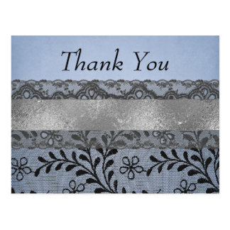 Thank you Blue and Black Faux Lace with Silver Postcard