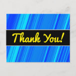 "[ Thumbnail: ""Thank You!"" + Blue and Cyan Lines Pattern Postcard ]"