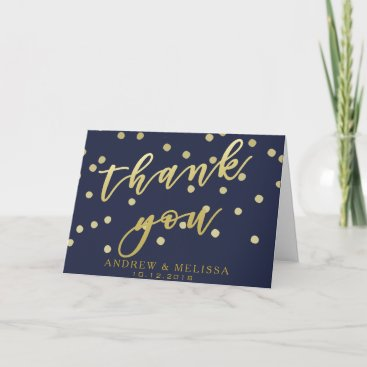 Thank You Blue and Gold Script & Confetti Postcard