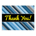 "[ Thumbnail: ""Thank You!"" + Blue and Grey Stripes Postcard ]"