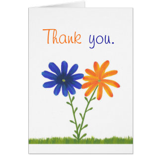 Thank you, blue and orange flowers, wedding cards