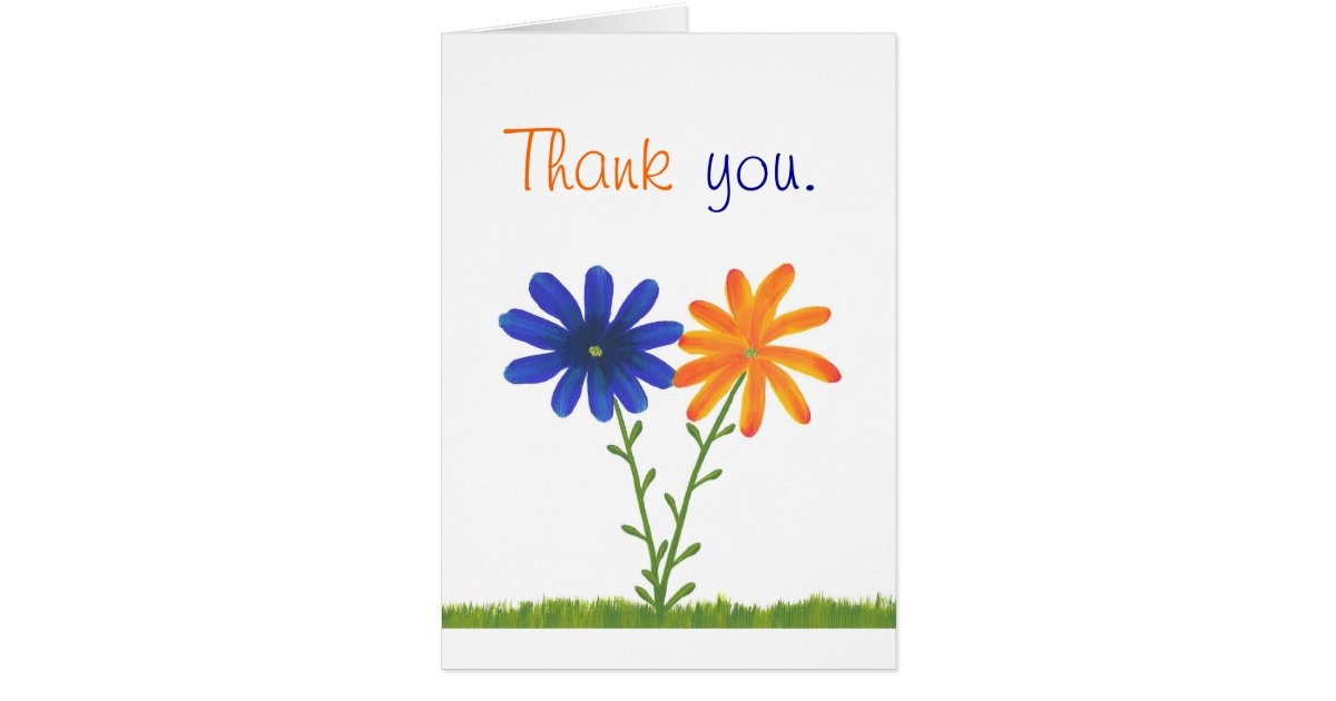 thank you  blue and orange flowers  wedding cards