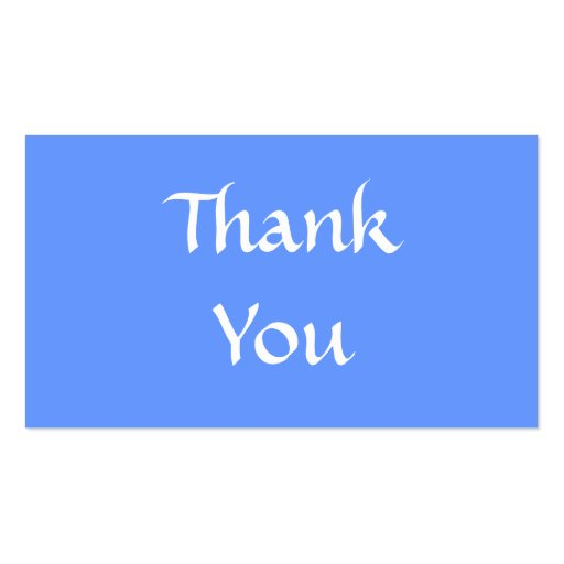 Thank you blue and white double sided standard business cards pack