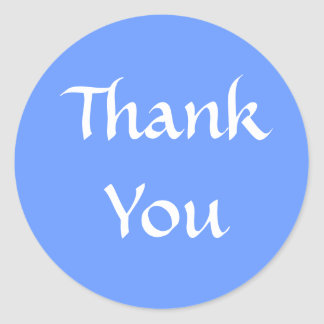 Thank You. Blue and White. Classic Round Sticker