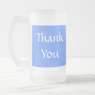 Thank You. Blue and White. Frosted Glass Beer Mug